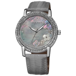 Akribos XXIV Women's Flower Diamond Accent Watch with Gray Strap