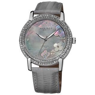Akribos XXIV Women's Flower Diamond Accent Watch with Gray Strap
