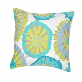 Contemporary Duck Canvas Green/ Blue Abstract Square Pillows (Set of 2)
