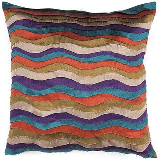 Contemporary Poly Dupione Muliti Color Square Pillows (Set of 2)