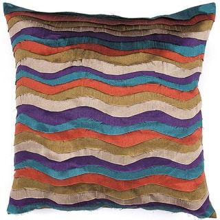 Contemporary Poly Dupione Muliti Color Square Pillows (Set of 2)