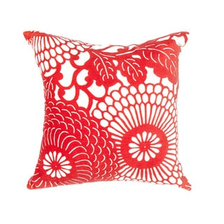 Contemporary Poly Dupione Red and Orange Square Pillows (Set of 2)