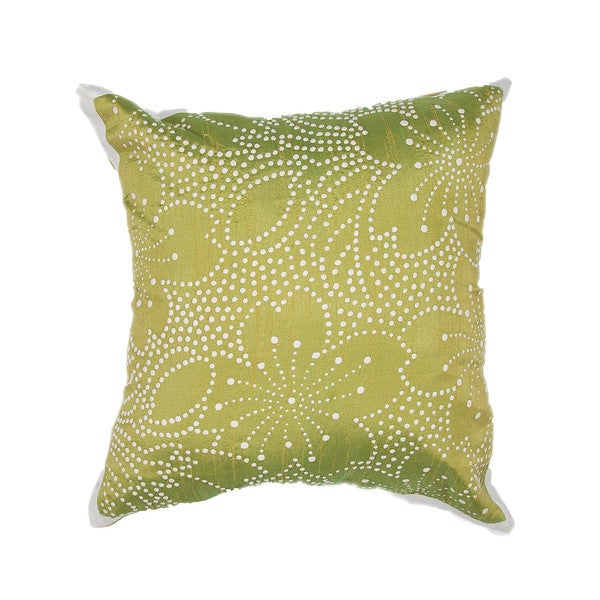 Contemporary Poly Dupione Green Square Pillows (Set of 2)