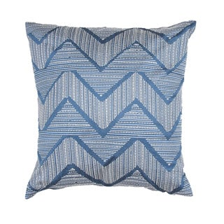 Contemporary Poly Dupione Blue Zigzag Square Pillows (Set of 2)