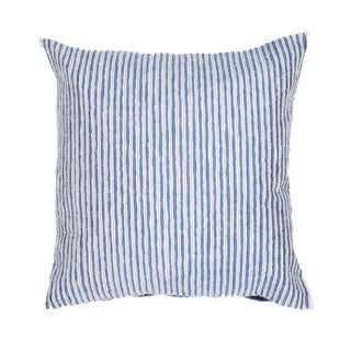 Contemporary Poly Dupione Blue Stripe Square Pillows (Set of 2)