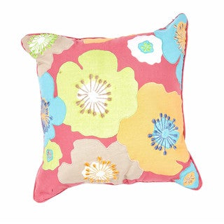 Contemporary Duck Canvas Multicolor Floral Square Pillows (Set of 2)