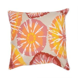 Contemporary Duck Canvas Pink/ Red Abstract Square Pillows (Set of 2)