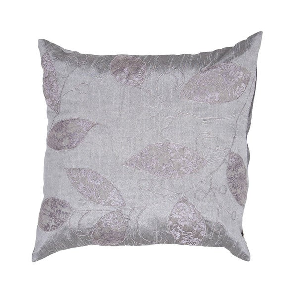 Contemporary Square Grey Leafy Poly Dupione Pillows (Set of 2)
