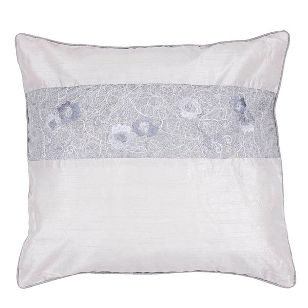 Contemporary Poly Dupione Ivory/ Grey Square Pillows (Set of 2)