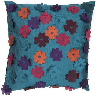 Contemporary Poly Dupione Blue/ Red Flower Square Pillows (Set of 2)
