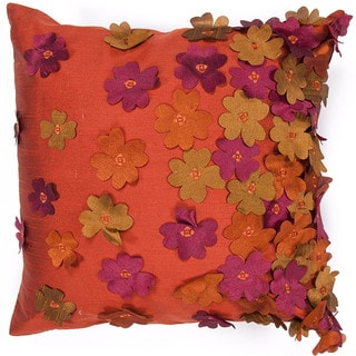 Contemporary Poly Dupione Red/ Orange Flower Square Pillows (Set of 2)
