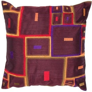 Contemporary Poly Dupione Multicolor Square Pillows (Set of 2)