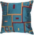 Contemporary Blue/ Red Square Pillows (Set of 2)
