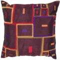 Contemporary Poly Dupione Brown/ Red Square Pillows (Set of 2)