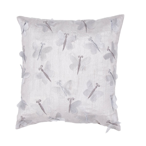 Contemporary Dragonfly Ivory Square Pillows (Set of 2)