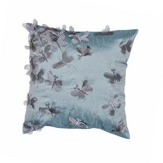 Contemporary Poly Dupione Blue Butterfly Square Pillows (Set of 2)