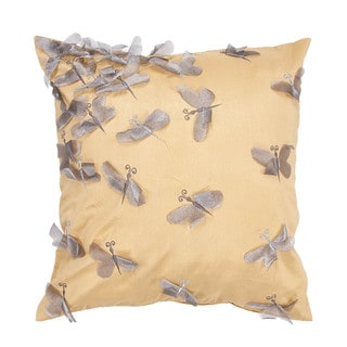 Contemporary Poly Dupione Gold/Yellow Square Pillow (Set of 2)