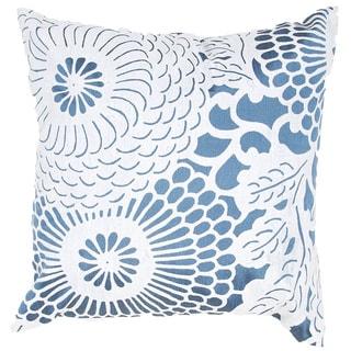 Contemporary Blue/ White Square Pillows (Set of 2)