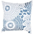Contemporary Blue/ White Square Pillows (Set of 2)
