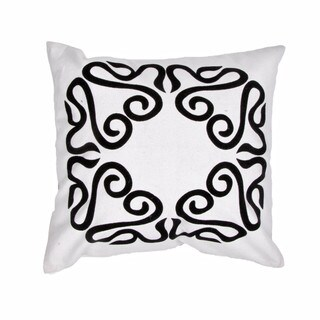 Contemporary Cotton Ivory/ Grey Square Pillows (Set of 2)