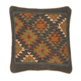 Traditional Handwoven Wool/Jute Brown/Red Square Pillows (Set of 2)