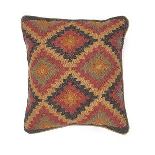 Traditional Wool/ Jute Muliti-color Square Pillows (Set of 2)