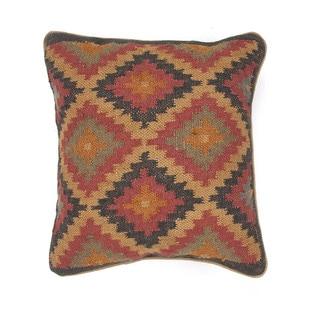 Traditional Wool/ Jute Muliti-color Square Pillows (Set of 2)