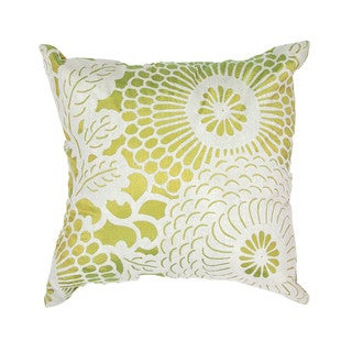 Contemporary Poly Dupione Faux-Silk Green Square Pillows (Set of 2)