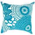 Contemporary Poly Dupione Blue Square Pillows (Set of 2)