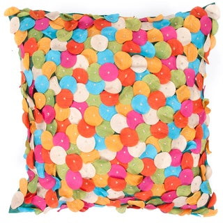 Contemporary Hand-Stitched Multi-color Square Pillows (Set of 2)