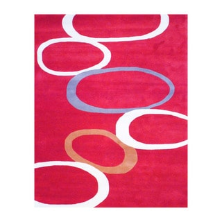 Indo Hand-tufted Red/ Ivory Wool Area Rug (8' x 10')