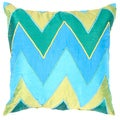 Blue Chevron Print Square Pillow (Set of 2)