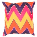 Red / Orange Chevron Print Square Pillows (2)