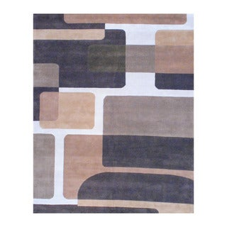 Indo Hand-tufted Brown/ Ivory Wool Area Rug (8' x 10')