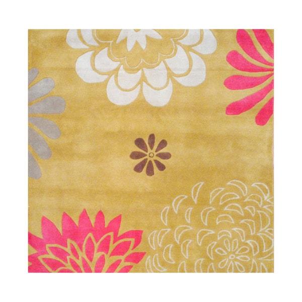 Herat Oriental Indo Tibetan Hand-tufted Gold/ Ivory Wool Area Rug (6' x 6')