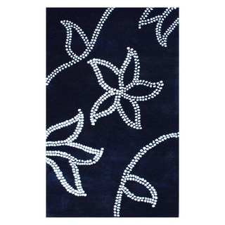 Indo Hand-tufted Black/ Ivory Wool Area Rug (5' x 8')