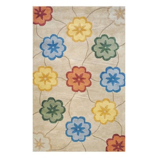 Indo Hand-tufted Beige/ Gold Wool Area Rug (5' x 8')