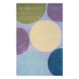 Indo Hand-tufted Gray/ Purple Wool Area Rug (5' x 8')