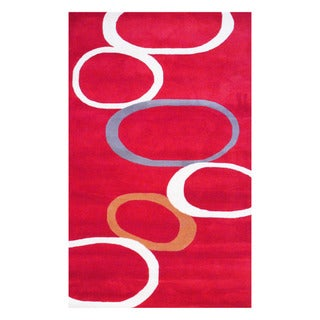 Indo Hand-tufted Red/ Ivory Wool Area Rug (5' x 8')
