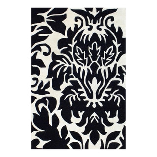 Indo Hand-tufted Black/ Ivory Wool Area Rug (4' x 6')