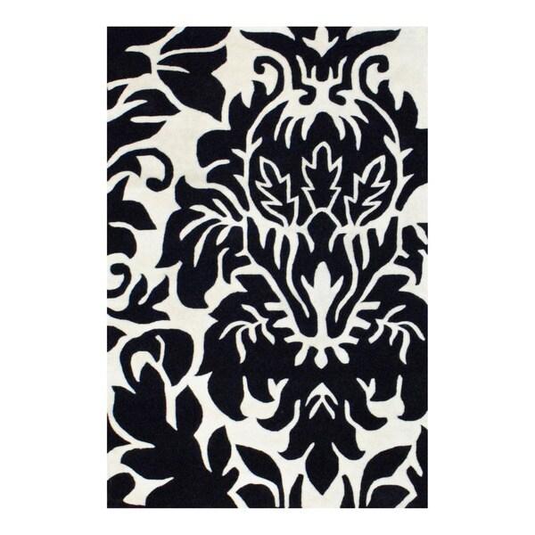 Herat Oriental Indo Tibetan Hand-tufted Black/ Ivory Tibetan Wool Area Rug (4' x 6')