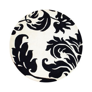 Indo Hand-tufted Black/ Ivory Wool Area Rug (6' x 6' Round)