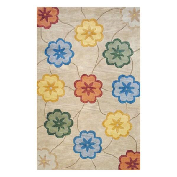 Herat Oriental Indo Tibetan Hand-tufted Beige/ Gold Wool Area Rug (8' x 10')