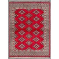 Pakistani Hand-knotted Bokhara Red/ Beige Wool Rug (4'2 x 5'8)