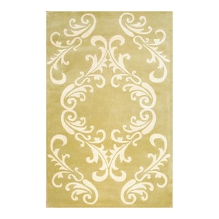 Herat Oriental Indo Tibetan Hand-tufted Light Green/ Ivory Wool Area Rug (5' x 8')