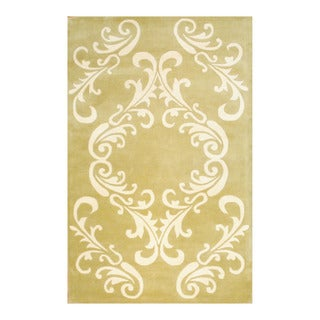 Indo Hand-tufted Light Green/ Ivory Wool Area Rug (5' x 8')