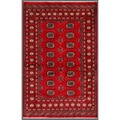 "Pakistani Hand-Knotted Bokhara Red/Ivory Natural-Dye Wool Rug (4' x 6'2"")"