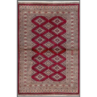 Pakistani Hand-knotted Bokhara Red/ Burgundy Wool Rug (4'2 x 6'2)