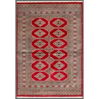 Pakistani Hand-knotted Bokhara Red/ Beige Wool Rug (4'2 x 5'9)