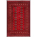 "Pakistani Hand-Knotted Bokhara Red/Ivory Wool Area Rug (4' x 6'1"")"